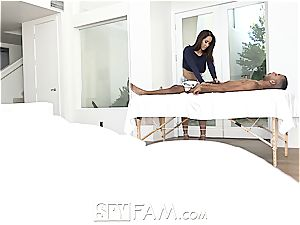 Isis love uses a rubdown to touch in her stepson's meatpipe