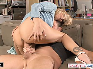 ash-blonde Julia Ann gets pulverized and facialized