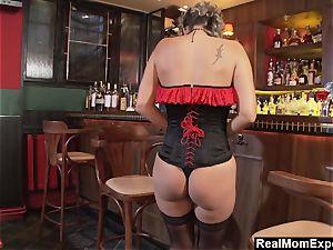 captivating cougar wanks At The Bar