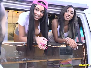 Raven Wylde and Bethany Benz facial cumshot in ice cream truck get cooch boinked