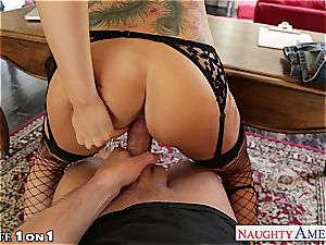 Alluring Romi Rain gets her shaved cunt torn up