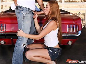 magnificent red-haired Farrah Flower screwed up against a car