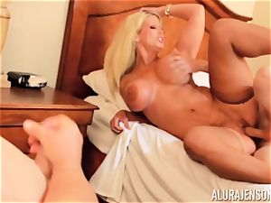 boner deep throating horny 3some Alura Jenson and boy gives a helping hand