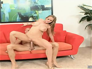 Abby rode bounces her scorching slit on this firm cock