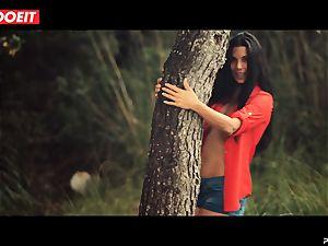 LETSDOEIT - mischievous dark haired Caught Running in the forest