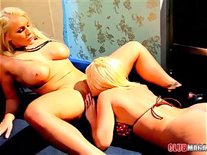 Sadie Swede and Sophie Dee in a girl-on-girl shag jamboree