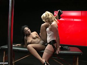 tough Kathia Nobili thrusts her strap on manstick deep down her fucking partner jaws