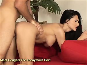 astounding Aletta Ocean hopping on large trouser snake