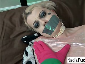 Nadia milky is wrapped in plastic and groped