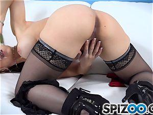 Sarah Vandella using her glass faux-cock