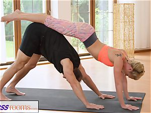 FitnessRooms sweat-soaked cleavage in a room utter yoga honies