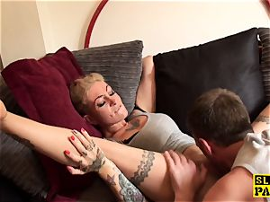 tattooed brit skanks messy poon eaten out