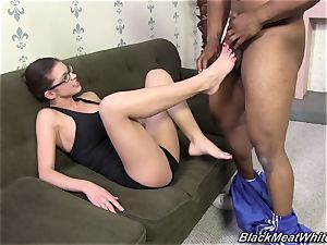 bi-racial footjob for meaty dark-hued prick