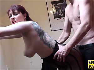 big-titted british red-haired dominated with roughsex