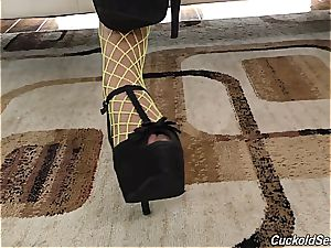Fishnetted Alexa Tomas whore gets spit roasted by 2 BBCs