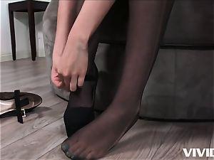 mischievous Melissa Moore hops On A massive ebony penis