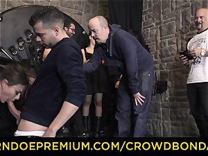 CROWD restrain bondage - extreme sadism & masochism pulverize wheel with Tina Kay