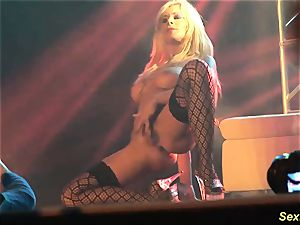 huge-boobed cougar lapdance on stage
