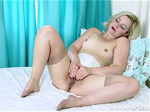 platinum-blonde fuckbox play in vintage brassiere garter sheer nylons