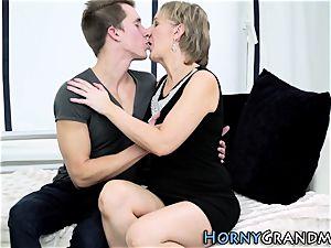 Heeled gilf inhaling cock