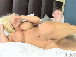 Creep wedges his manhood into the face of Alura Jenson while sleeping