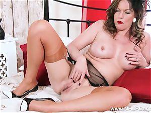 wild horny nylon high heel garter getting off cougar