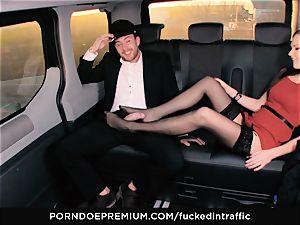 boinked IN TRAFFIC Tina Kay footjob in the backseat