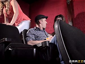 Cherie Deville and Molly Jane pulverize meatpipe in a porn theatre