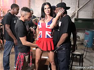 The crowd of blacks plowing big-chested superstar Jasmine Jae with brilliant bod
