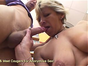 Mature blond gets pummeled in video store