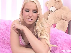 Interview and pummeling with blondie sweetheart Vanessa box