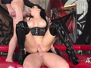 scorching porn pioneer Aletta Ocean takes two shafts in her ass and poon