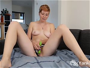 red-haired Aurora toying Her beaver