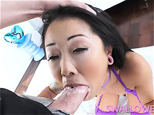 chinese tatted honey deepthroats it well