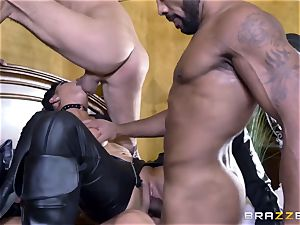 raunchy in rubber Romi Rain gets plowed by three hot penises