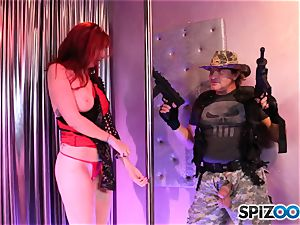 spectacular red head Lauren Phillips gives head and slurps arse at her unwrap club