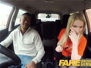 faux Driving school long ebony man meat sates light-haired