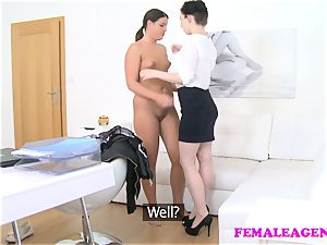 lady Agent shy bombshell seduced screwed by huge-chested agent