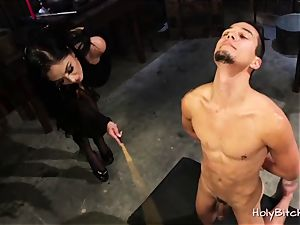 jaw-dropping dominatrix punishes Her gimp truly hard