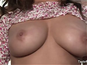 dark haired ultra-cutie Taylor plays with her massive breasts