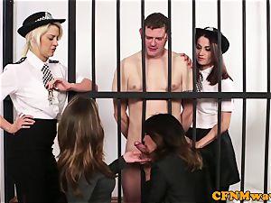 CFNM police female dom jacking off prisoner