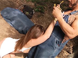 Maddy OReilly gets roughly pummeled outdoors