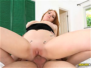 beauty ginger Ginger Rose rails manhood deep in her uber-cute snatch