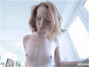 Ginger babe Katy smooch blows off her stepbro