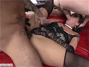 sumptuous biotch in stockings sucks 3 dicks and takes them in her holes