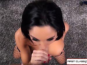 first Class POV-Big butt Ava Addams deepthroating a yam-sized shaft