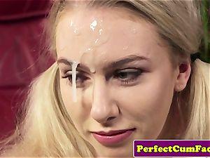 buxomy spunk therapist tit job for facial cumshot