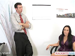tattooed babe Rachel Starr blow and ride a enormous penis