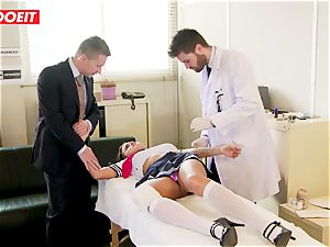 student gets manhandled hardcore by instructor and physician
