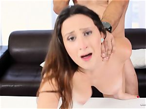 beautiful beginner Ashley Adams works her audition perfectly